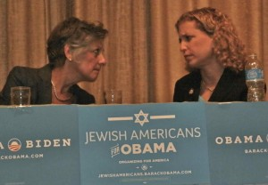 DNC Head Heckled-- Congresswoman Allyson Schwartz (D-PA13) tries to buck up Democratic National Committee Chairwoman Debbie Wasserman Schultz