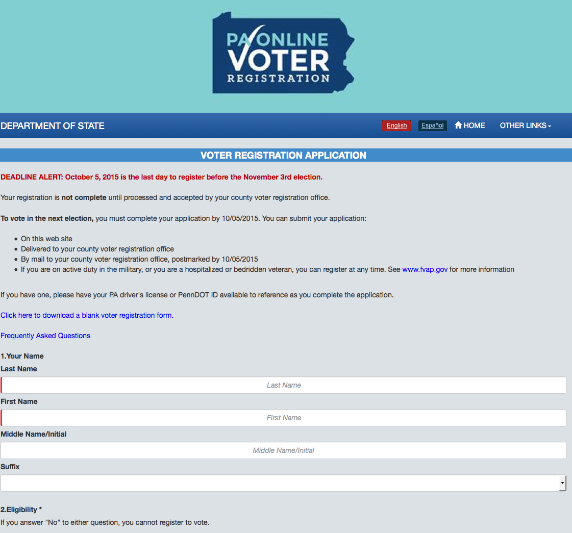 Pennsylvania Online Voting Registration Pa Services Archives  Billlawrenceonline